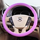 YF WENQI ? Silicone Small Leather Grain Universal Cover for Car Steering Wheel , Light Pink