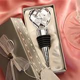 Chrome Bottle Stopper with Crystal Heart Wedding Favors, 1