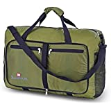 Single Piece Khaki Collapsible Duffle Bag 21-inch Water-resistant Nylon Foldable Adjustable Strap Checkpoint-Friendly...