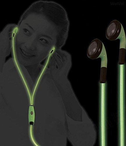 Wolvol (New Style) Earphones Headset Headphones (With Microphone) With Led Flashing Lights (Green Color), Charging Cable Enclosed