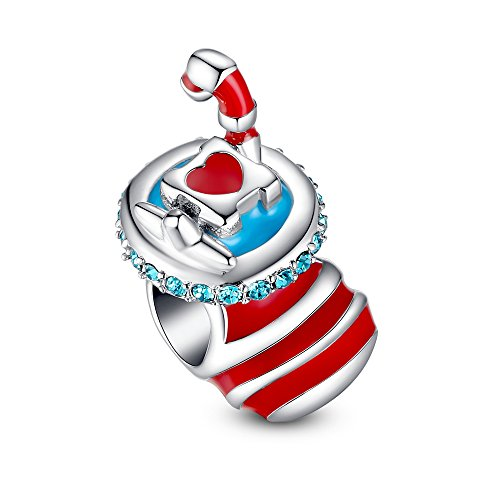 Glamulet 925 Sterling Silver Pandora Beads Christams Stocking Sock Charm Fits Pandora Bracelet Ideal Jewelry Gifts for Birthday, Anniversary, for Women, Mom, Wife, Girls