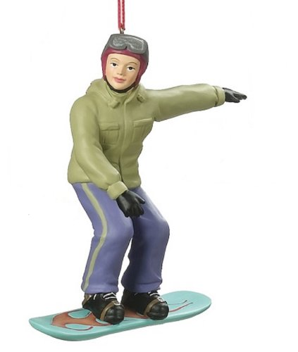 Teal Snowboard Girl Christmas Ornament 790786 Teal Girl Blonde Hair