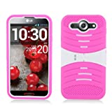 **PDA**For LG E980 Optimus G Pro (AT&T) Hot Pink Skin+White Rubber Cover W/ White Stand