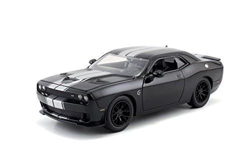 New 1:24 DISPLAY BIG TIME MUSCLE - SILVER BLACK 2015 DODGE CHALLENGER SRT HELLCAT Diecast Model Car By Jada Toys (Dodge Challenger Model Car compare prices)
