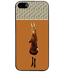 PrintDhaba Horn Girl D-2479 Back Case Cover for APPLE IPHONE 5S (Multi-Coloured)