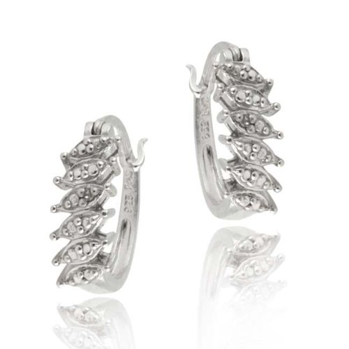 Sterling Silver Diamond Accent Small Oval Hoop Earrings