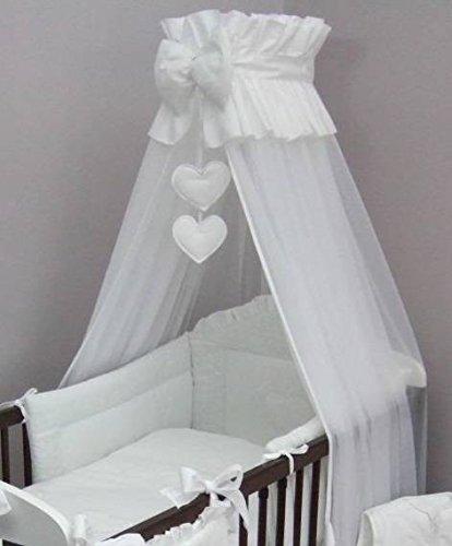 Baby lettino Corona baldacchino/zanzariera 480cm + Morsetto Supporto/asta/Cuore, colore: bianco