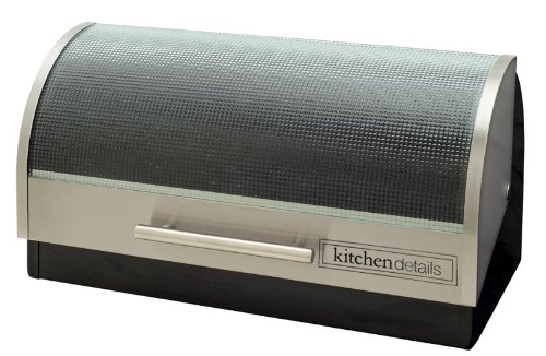Kitchen Details Stainless Steel Bread Box with Roll Top Glass Lid Black