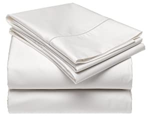 Renaissance Collection 600 Thread-Count Solid Cotton Standard Pillow Case Set, White