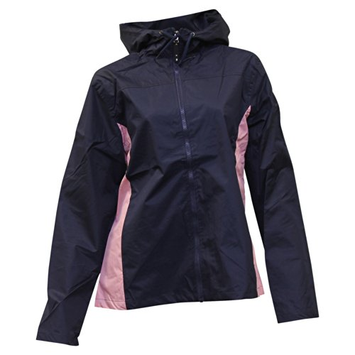 Apparel No. 5 Women's Lightweight Hooded Windbreaker Jacket,Large,Navy / Pink