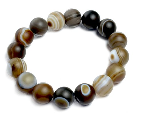 Buddhist Prayer Bead Bracelet Made From 10 Mm Genuine Banded Agate Beads Gemstone-fensg Shui Energy