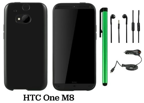 Htc One (M8) Solid Plain Color Tpu Protector Back Cover Case (2014 Q1 Released; Carrier: Verizon, At&T, T-Mobile, Sprint) + Car Charger + 3.5Mm Stereo Earphones + 1 Of New Assorted Color Metal Stylus Touch Screen Pen (Black)