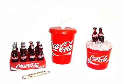 Coca Cola Cokei Collectables Dollhouse Miniature Fridge Magnet 3 Pcs/Set Cup Crate Bucket Coca Cola Fridge front-429193