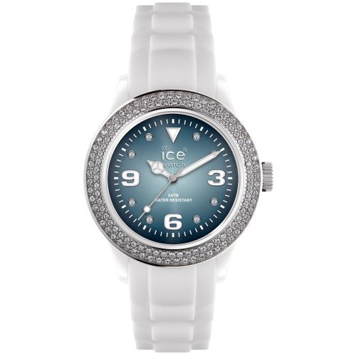 Ice-Watch Unisex Quartz Watch with Blue Dial Analogue Display and White Silicone Strap IB.ST.WSH.U.S