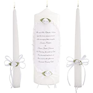 Celebration Candles Wedding Unity Candle Set, 9-inch Pillar Candle, with matching 10-inch Taper Candles, White
