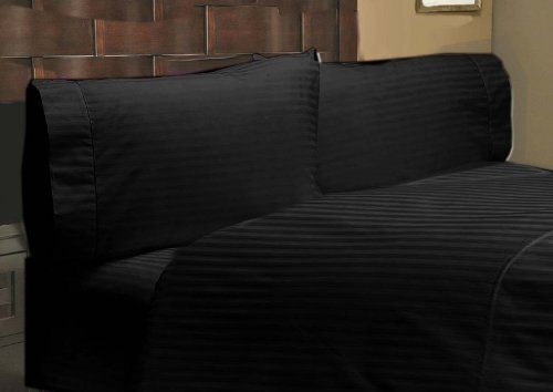 "400 Thread Count 100% Egyptian Cotton Stripe Black Short Queen 15"" Deep Pocket Sheet Set front-863118"