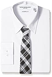 Nick Graham Everywhere Men's Nick Graham Men's White Solid Dress Shirt with Two Ties, Large-L: 16/16.5