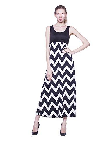 Mellow Judys Women Tank T Skirt Striped Maxi Dress Black XL