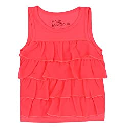 Pumba Retail 50% cotton and 50% Rayon Bright Pink Top with Fornt Side Flares (3 T)