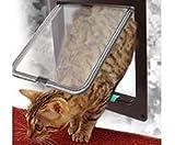 ペット用 出入口 ドア 扉 犬 猫 ペット ゲート 4WAY 色 サイズ 選択 可 (ブラウン(茶), L (23×25×5.5 cm))