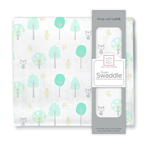 SwaddleDesigns Muslin Swaddle Blanket, Green Woodland, SeaCrystal