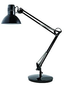 Alba ARCHI N Lampe architecte fluorescente avec pince et socle Noir