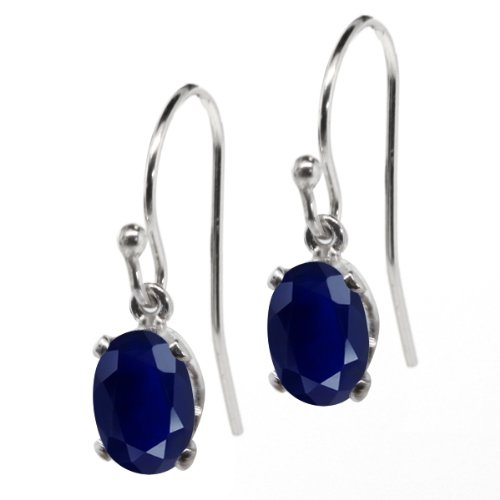 204-Ct-Natural-Oval-Blue-Sapphire-Gemstone-Birthstone-925-Sterling-Silver-Ladies-Dangle-Earrings