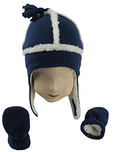 N'Ice Caps Little Boys and Baby Sherpa Lined Micro Fleece Pilot Hat and Mitten Set (6 - 18 Months, Navy/White Infant)
