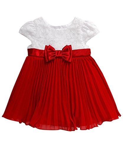 Youngland Baby Girls' Lace Bodice to Chiffon Pleated Dress, Red/White, 12 Months