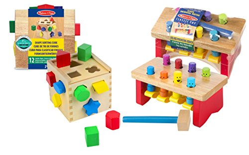 Melissa & Doug Shape Sorting Cube with Pounding Bench