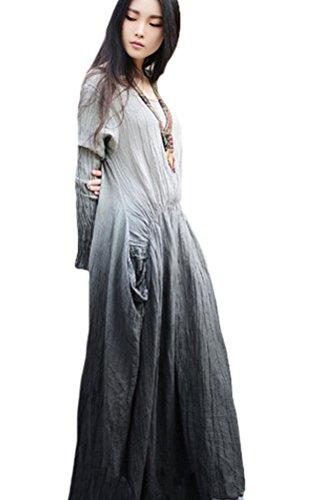 voguees-womens-round-collar-long-sleeve-ruffles-waist-maxi-dress-gray