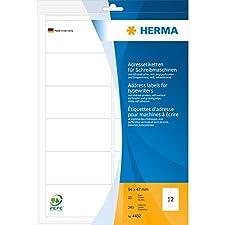 Herma 4432 Lot de 240 étiquettes d'adresse sur feuilles A4, 94 x 47 mm (Blanc)