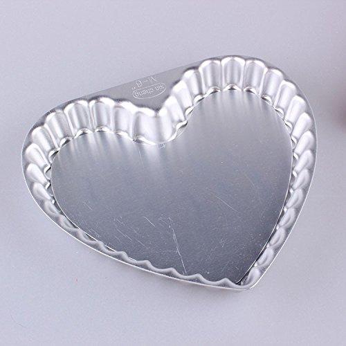 """me-direct en aluminium en forme de cœur à flan cannelé Quiche Moule à Tarte avec base amovible en 345678925,4cm Diamètre 2,5cm Profondeur Boîte à gâteau moule de cuisson poêle profonde Flan 2 Tier 6"""" + 8"""""""
