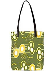 Snoogg Pattern Multicolor Design Womens Digitally Printed Utility Tote Bag Handbag Made Of Poly Canvas With Leather...