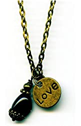 Antiqued Bronze Small Green Bloodstone Gemstone and Love Heart Pendant Handmade 18 Inches