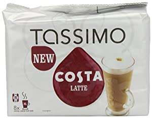 TASSIMO Costa Latte coffee 6 discs, 8 servings (Pack of 5, Total 80 discs/pods, 40 servings)
