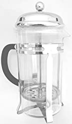 Professional Grade Gourmet French Press Coffee Maker - Brews 4-cups - Chrome - Uniquely Stylish and Durably Unbreakable Borosilicate Glass Beaker - Sturdy Stainless-steel Frame and Heat Resistant Handle - All High Quality Eco-friendly Dishwasher-safe Part