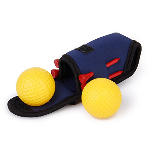 Elastic Mini Golf Ball Holder Bag w/ Hook Clip 2 Balls 4 Tees