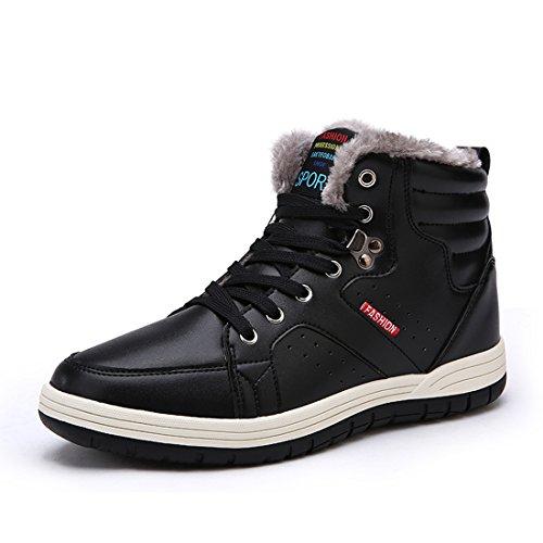 AFFINEST High-top Più velluto Stivali Donna Uomo Tooling Stivali in Vera Pelle Invernali scarpe sneakers?nero,42)