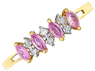 F.Hinds Womens Jewellery Jewelry 9ct Gold Diamond And Pink Sapphire Ring - 6pts