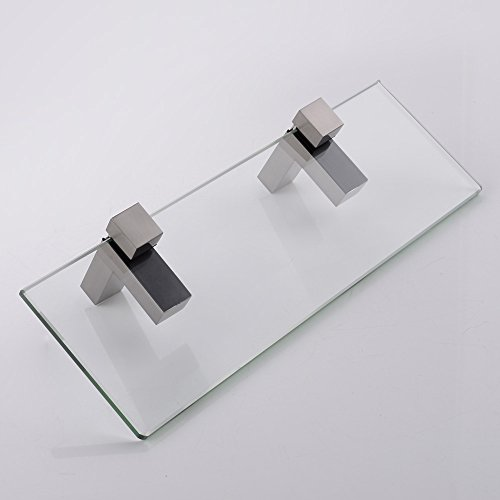 Kes 14 inch bathroom tempered glass shelf 8mm thick wall Glass bathroom shelf brushed nickel