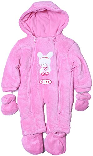 Cone Isle Baby - Baby Girls 0-9M Plush Snow Bunny Snowsuit Pram -Pink6/9 back-455794