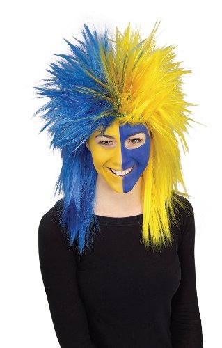 Rubie's Costume Blue and Yellow Sports Fan Wig