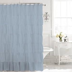 Gypsy Ruffled Shower Curtain Cream 70 Width X 72 Length White Shower Curtain