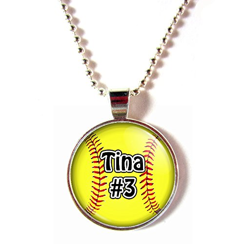 Personalized Softball Cabochon Glass Necklace With Your Name And Number