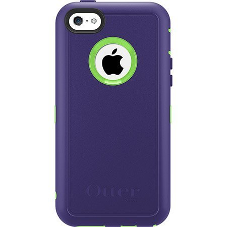 Otterbox Defender Series Case With Holster Clip For Iphone 5C Only - Retail Packaging (Violet Purple/Glow Green)