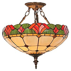 Amazon.com: 3 Light Victorian Tiffany Yale Semi Flush Mount: Home ...