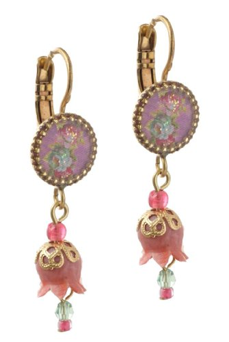 Michal Negrin Earrings with Roses Bouquet Print, Pink Dangle Lily and Beads - Hand-made in Israel