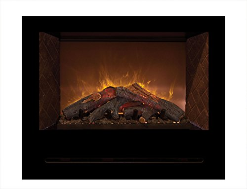 Modern Flames Home Fire Series Built-In Electric Fireplace With Log Set And Red Herringbone Side Panels, 36-Inch