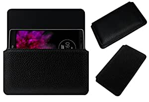Acm Horizontal Leather Case For Lg G Flex 2 Mobile Cover Carry Pouch Holder Black
